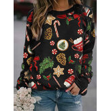Women Allover Christmas Pattern Print O-Neck Relaxed Fit Long Sleeve Sweatshirt