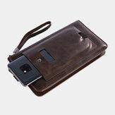 Männer Kunstleder Retro Business 6,3-Zoll-Handytasche Hand Carry Wallet Clutch Bag mit Armband
