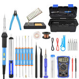 Toolour 60W Electric Soldering Iron Kit EU/US Plug Adjusting Temperature Backlit Digital Multimeter Solder Assist Set Welding Repair Tools