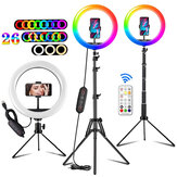 ORSDA 10 inch Ring Fill Light Tripod RGB LED Ring Light 26 Colors Remote Control Adjustment USB Plug Selfie Beauty Ring Light with Stand Video Light for YouTube TikTok Live Makeup Photography