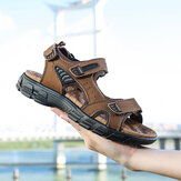 Men Outdoor Hand Stitching Cowhide Leather Comfy Non Slip Beach Sandals