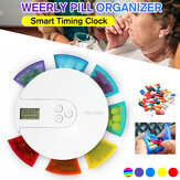 7 Grid 7 Day Smart Timing Medication Compartment Container with Clock Reminder