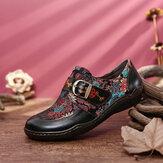 SOCOFY Zapatos planos con hebilla de flor de ciruelo en relieve de cuero con bordado de flores retro