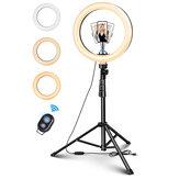 ELEGIANT EGL-06S 10 polegadas 3 modos de iluminação Ajuste de brilho LED Suporte para tripé de luz anelar Suporte para selfies ao vivo com Controle Remoto para YouTube Tiktok VK Vlog