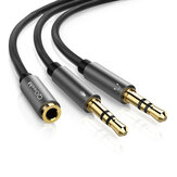 QGeeM 3.5mm Male to 2 Female Jack 3.5mm Splitter Adapter Aux Cable for iPhone for Samsung MP3 Player Tablet