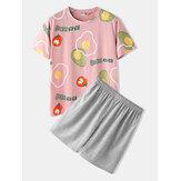 Men Casual Cartoon Fruit Print Round Neck Short Sleeve Loose Pajama Set