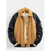 Chaqueta de lana con mangas raglán bordado para hombre con bolsillo