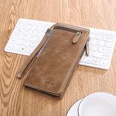 Hommes d'affaires Long portefeuille SIM fente pour carte SD téléphone sac Vintage mode en cuir véritable pochette