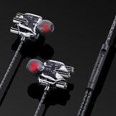 BakeeyA6透明インイヤーヘッドフォン3Dステレオデュアルスピーカー有線イヤホンワイヤーコントロールチューニングステレオスポーツヘッドセット