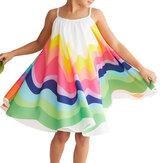 Girls Summer Rainbow Printed Sleeveless Casual Dress
