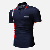HombresColorfulStripeMuscleFitGolf Camisa
