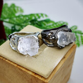 Vintage Geometric Irregular Natural Crystal Ore Ring Metal Hollow Transparent Gemstone Finger Rings