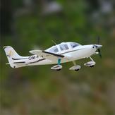 Dynam SR22 V2 Bianco / Argento 1400mm Apertura alare EPO 1:12 Scala RC Aeroplano principiante PNP con alette