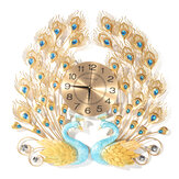 3D Peacock Wall Clock Large Accurate Mute Metal Art Creative Decor Home