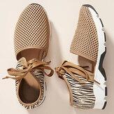 Mulheres malha de entalhe respirável atam sandálias esportivas casuais
