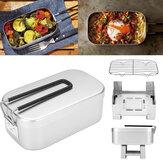 Boîte à lunch pliante en aluminium contenant de nourriture Mini cuisinière à alcool en acier inoxydable support de cuisson à la vapeur Camping en plein air pique-nique