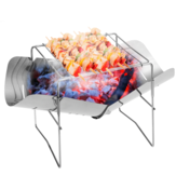 Ultra-light Stainless Steel Folding Fire Pit High Temperature Resistance Camping Barbecue Wood Stove