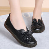 Women's Leather Slip On Solid Color Woven Bowknot Asakuchi Flats Loafers Shoes