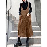 Γυναικεία κορδόνια από μασίφ χρώμα χωρίς αμάνικα vintage φόρεμα