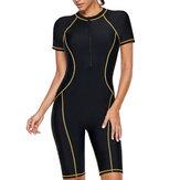 One-Piece Short Sleeve Zipper Sun Protection Swimwear