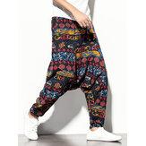 Pantalon 100% coton Vintage Print Loose Drop-Crotch pour homme avec poche