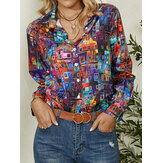 Women Colorful Geometric Printed Button Lapel Long Sleeve Shirt