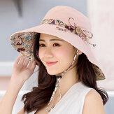 Cubo protector solar para mujer Sombrero Desgaste casual de doble cara con borde ancho anti-UV Playa Sombrero