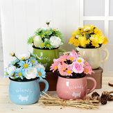 Simulación flor crisantemo taza Pot cerámica 4 colores puede elegir