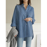 Women Solid Color Turn-down Collar Blouse Irregular Hem Chest Pocket Splited Denim Shirts