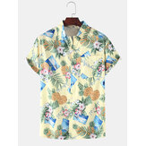 Heren casual ananas Colorful Bloemenprint shirts met korte mouwen