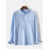 Mens Solid Color Stand Collar Cotton Long Sleeve Henley Shirts With Pocket