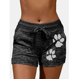 Plus Size Women Cat Paw Print Drawstring Breathable Sport Shorts With Pocket