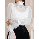 Elegant Lace Patchwork Hollow Strand Collar Back Button Daily Casual Blouse For Women