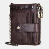 محفظة بسلسلة من الجلد الطبيعي للرجال RFID بسحاب مزدوج مضاد للسرقة وفتحة بطاقات متعددة بطاقة