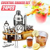 24Pcs 25oz Bartender Martini Cocktail Shaker Set Mixer Home Bar Tool Kit + Base