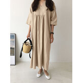 Casual Plain V-neck Pleated Half Sleeve Solid Color Maxi Dress For Women