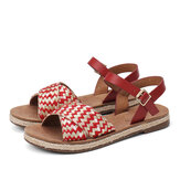 LOSTISY Women Cross Woven Strap Casual Sandals