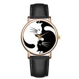 BAOSAILI Estilo Fofo Ultra Fino Relógio de Pulso Feminino Cat Design Relógio de Quartzo com Correia de Couro