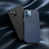 Baseus para iPhone 12 Mini Caso Anti-impressão digital magnética à prova de choque PU de couro protetor Caso tampa traseira