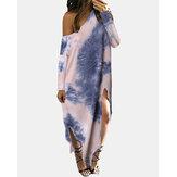 Robe maxi à manches longues et épaules dénudées pour femmes