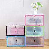 Складные прозрачные пластиковые ящики для обуви Органайзер Stackable Tidy Дисплей Коробка для корзин