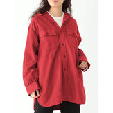 Women Button Up High Low Relaxed Fit Cargo Jackets With Hood