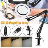 Lâmpada de ampliação 5X braçadeira Suporte LED Lâmpada de ampliação manicure Tatuagem Luz de beleza
