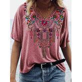 Blusa étnica de manga corta con cuello en V estampado floral para Mujer