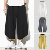 Mens Japanese Style Linen Trousers Loose Causal Beach Yoga Hippie Long Pants New