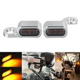 2 Adet 12V Motosiklet Amber LED Mini Dönüş Sinyali Göstergesi Çalışan Işık Lamba Harley için
