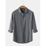 Heren katoenen effen kleur reverskraag Casual Henley-shirts met lange mouwen