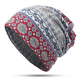 Frauen Ethnic Slouchy Beanie Cap Schal Outdoor Floral Double Layers Cotton Turban