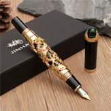 JINHAO Golden Dragon Schwere Füllfederhalter Clip Medium Nib 18KGP Business Men Geschenke