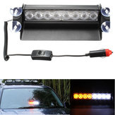 8 LED Car Strobe Flash Światło ostrzegawcze Emergency Sucker Wind Shield White & Amber